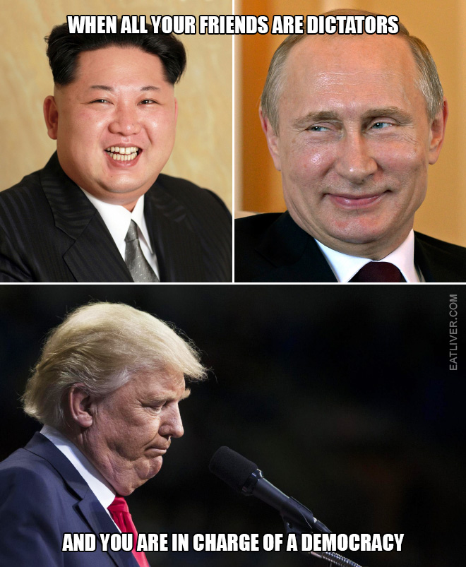 When all your friends are dictators and you are in charge of a democracy.