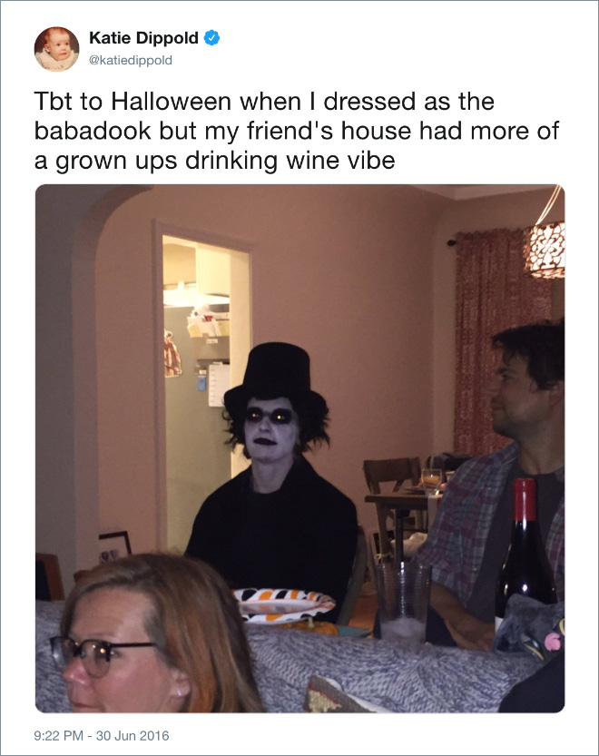 Tbt to Halloween when I dressed as the babadook but my friend's house had more of a grown ups drinking wine vibe
