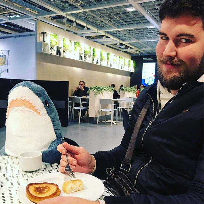 Eating a dinner with a shark.