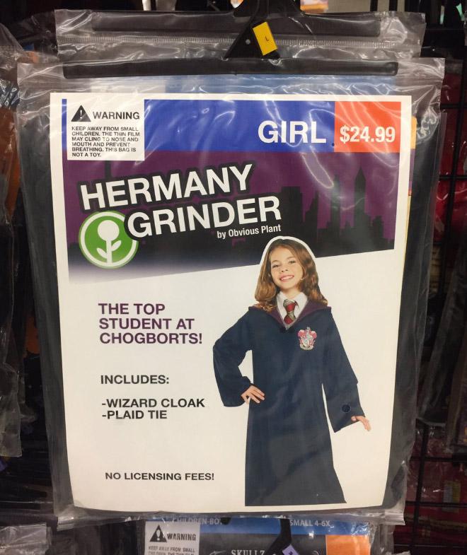 Haermany Grinder Halloween costume.