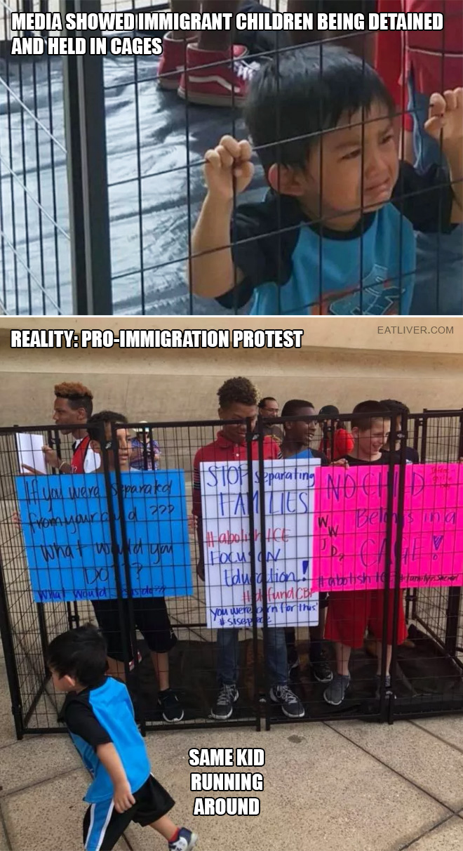 Immigrant kids in cages.
