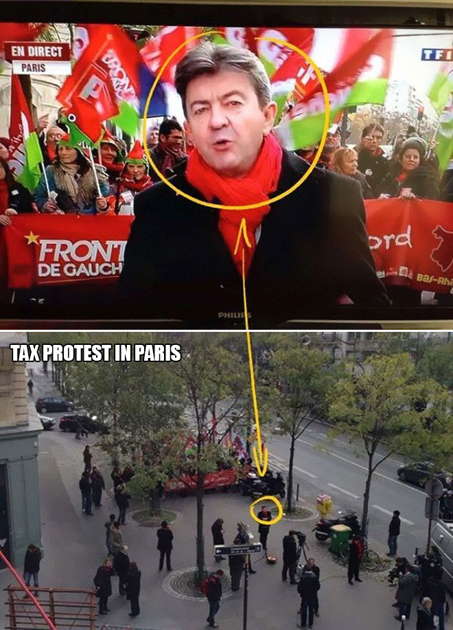 Tax protest in Paris, France.