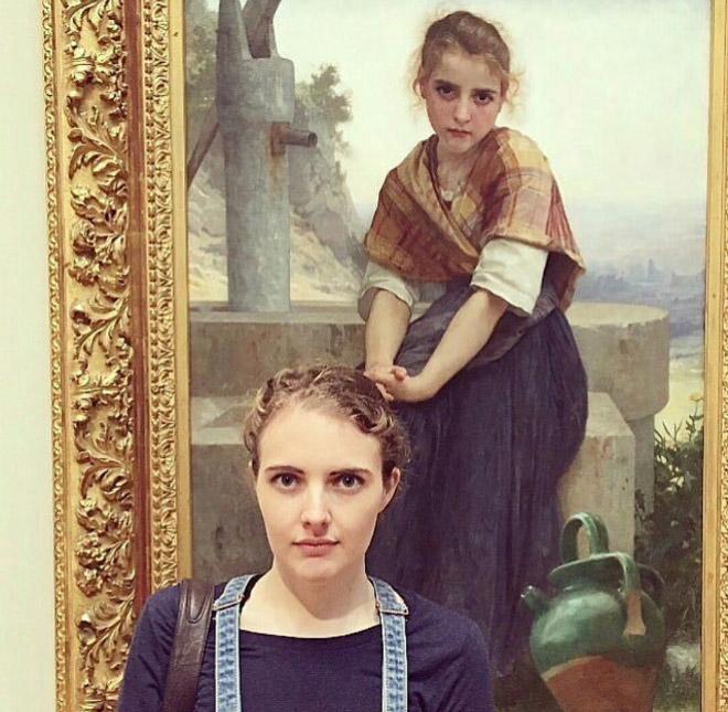 Cute girl painting look-a-like.