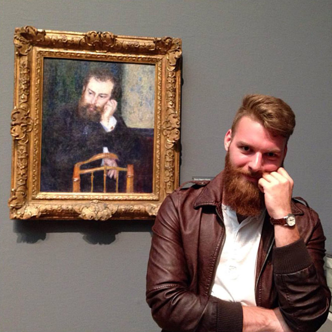 Hipster and his painted doppelgänger.