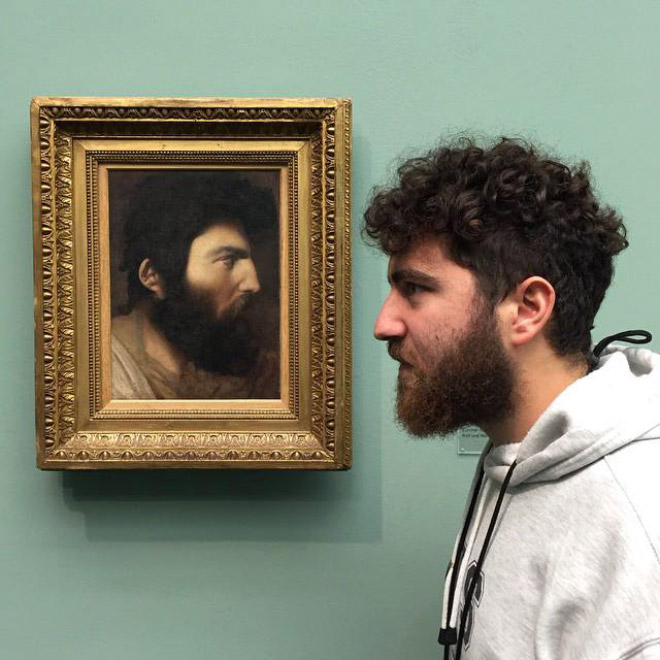 Bearded guy and his painting doppelgänger.