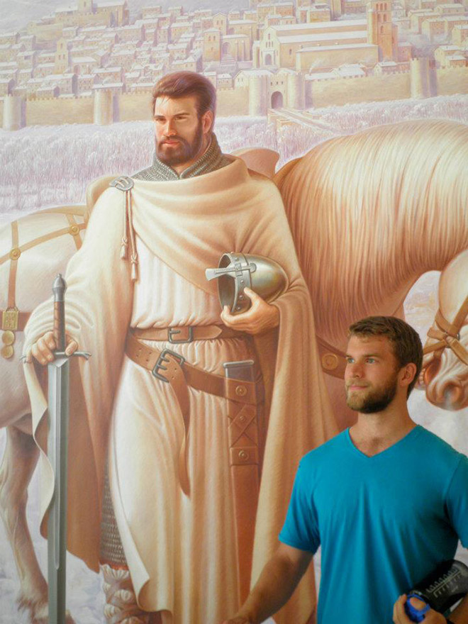 Knight and his real-life doppelgänger.