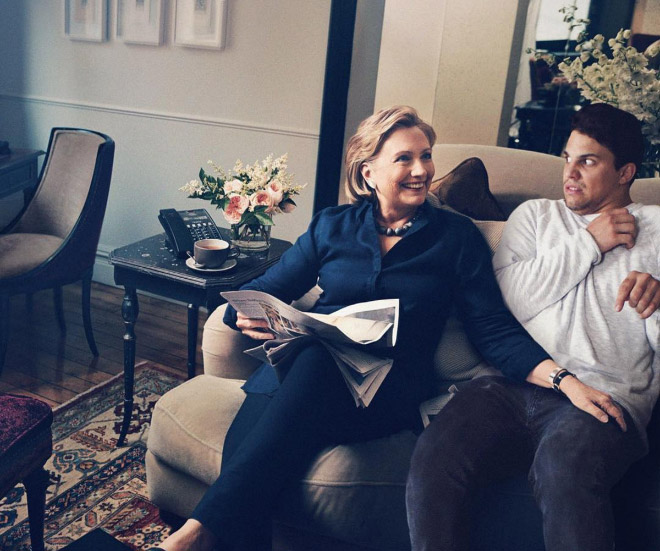 Hanging out with Hillary Clinton.