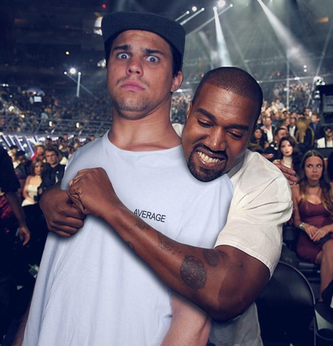 Unwanted hug by Kanye West.