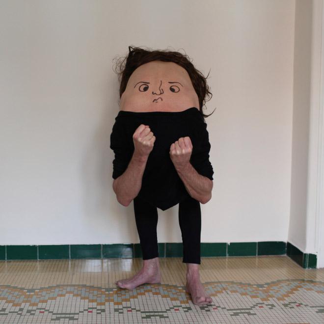 Creepy body art creature.