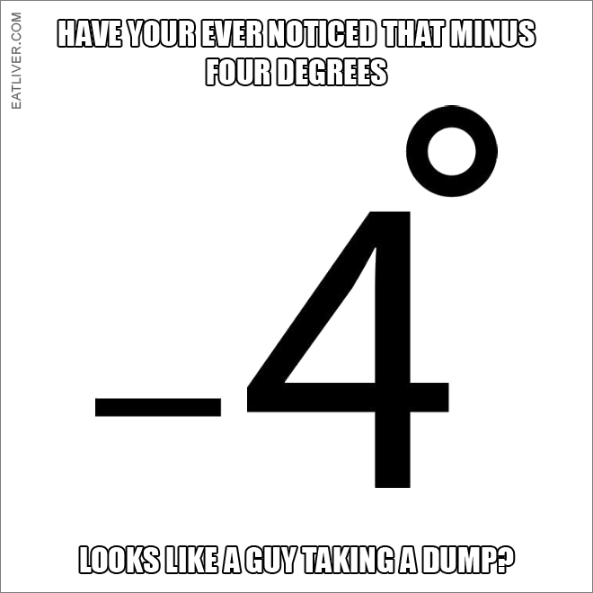 Have you ever noticed that minus four degrees looks like a guy taking a dump?