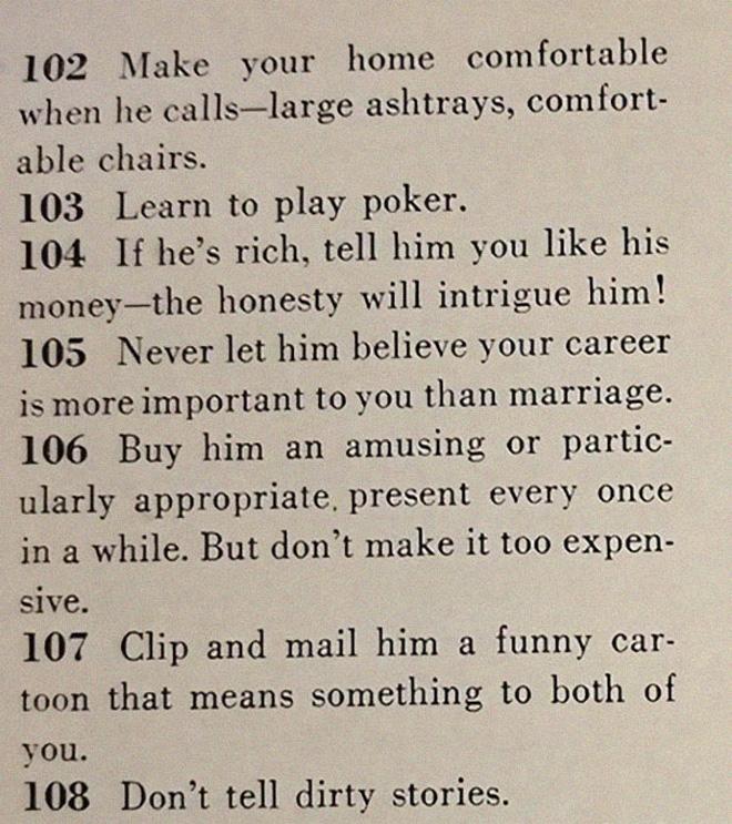 Vintage dating advice.
