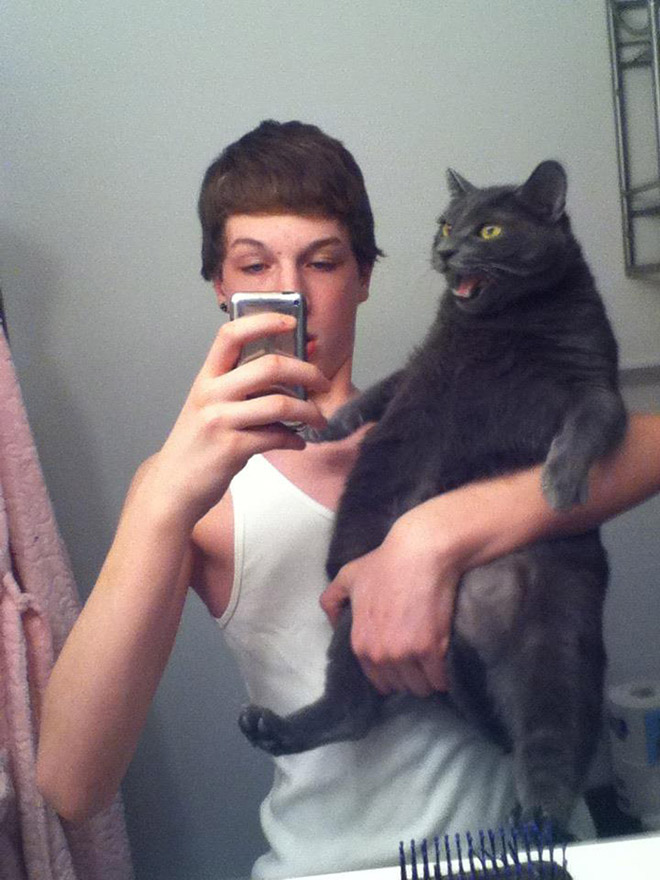 Awkward selfie with a cat.