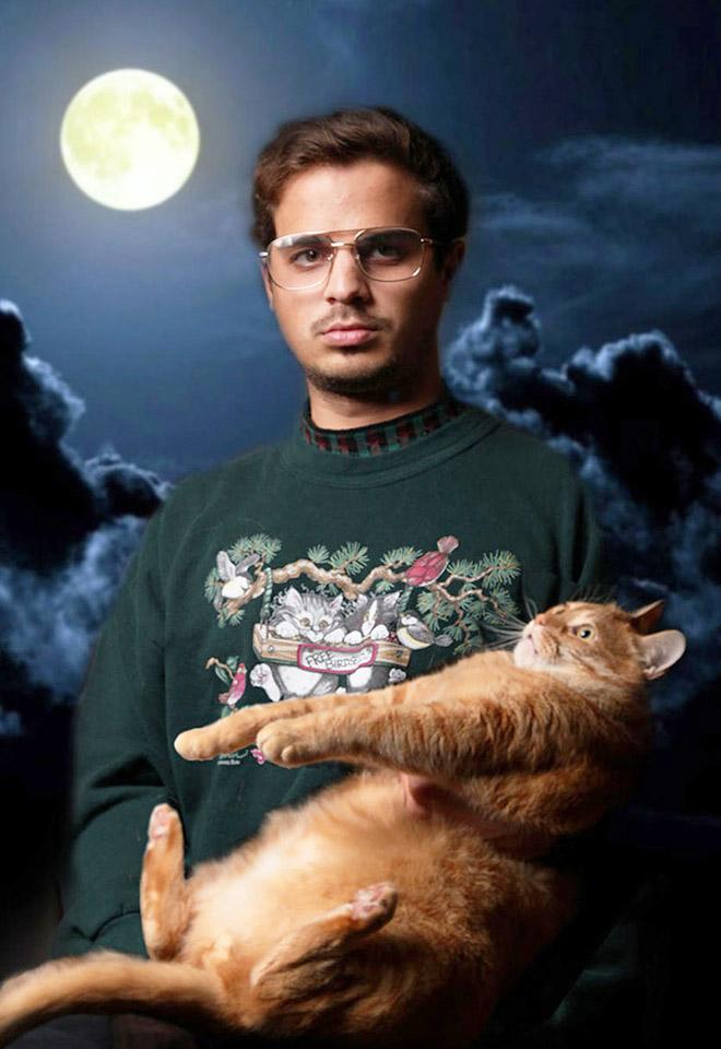Beautiful studio portrait with a cat.