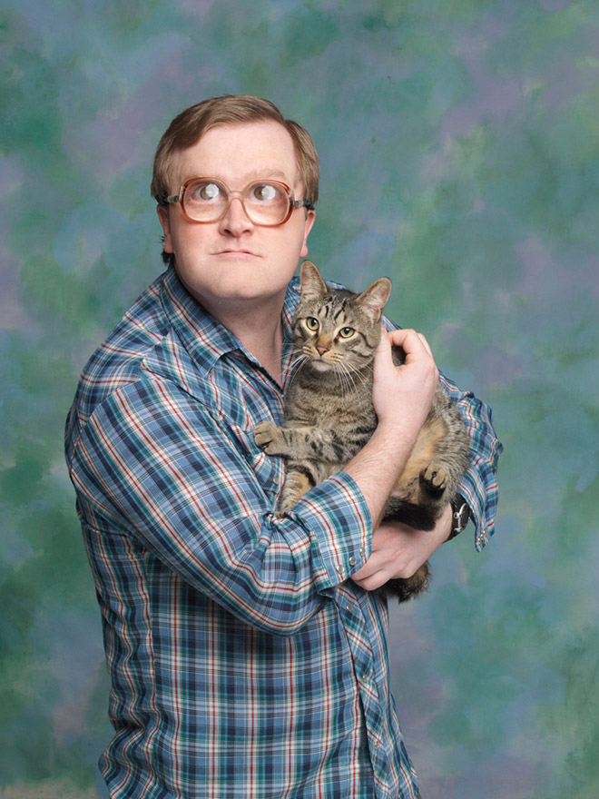 Bubbles with one of his kitties.