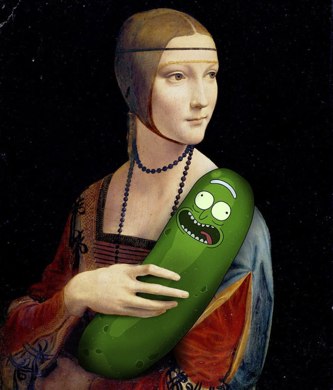 Pickle Rick meets art.