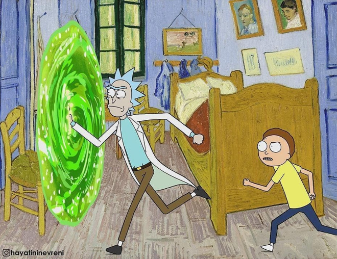 Rick and Morty mashed with a painting.