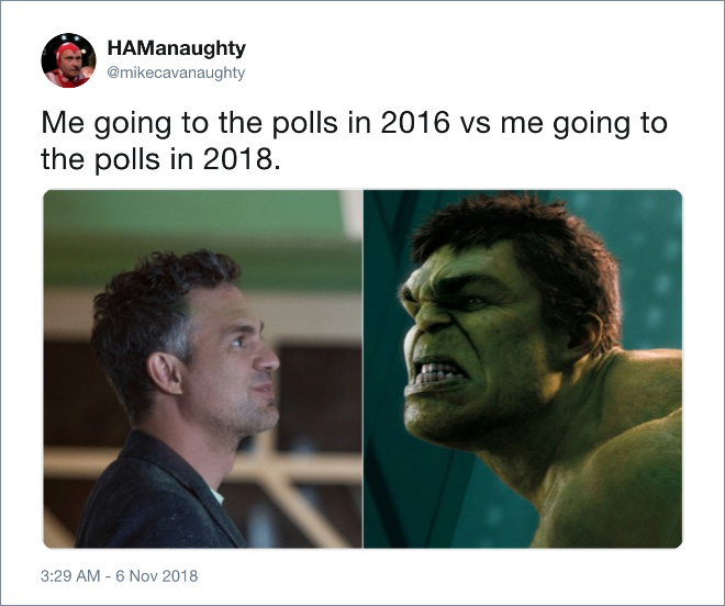 Me going to the polls 2016 vs. 2018.