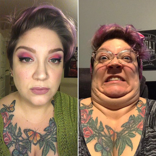 Same woman, different selfies.