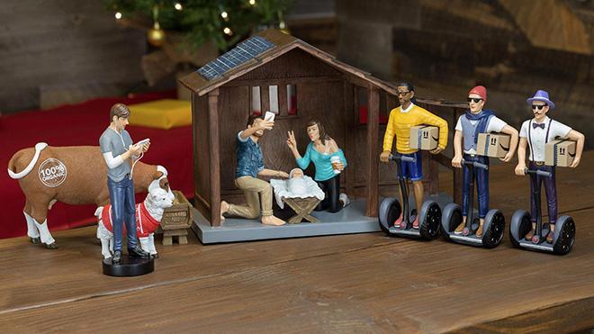 Funny hipster nativity set.