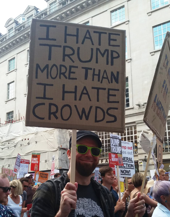 He hates Trump more than he hates crowds.