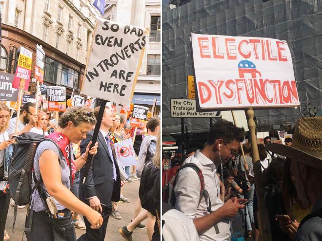 Hilarious anti-Trump signs.