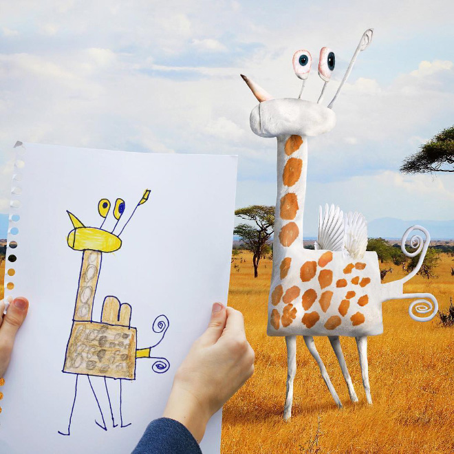 Giraffe doodle recreated as a real living thing.