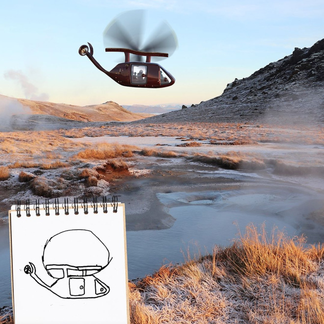 Helicopter doodle comes alive.