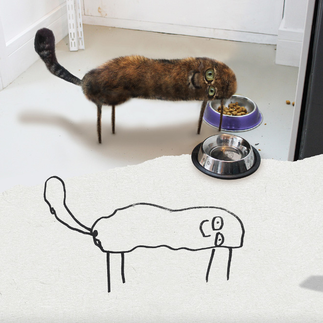 Cat doodle recreated as a real living thing.