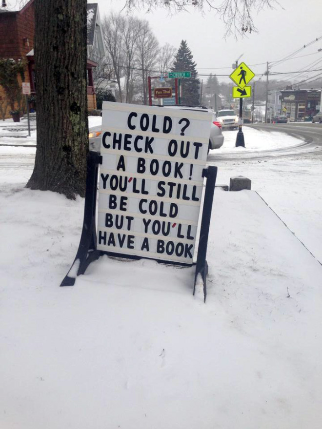 Cold? Check out a book!