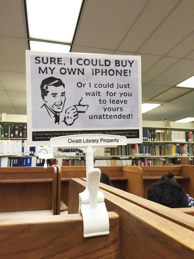 Brilliant library warning sign.