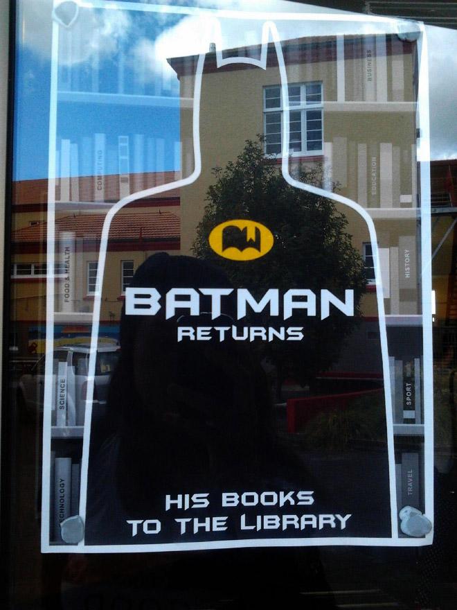 Batman returns... his books on time.