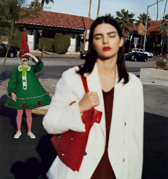 Kendall Jenner with Kirby in the background.