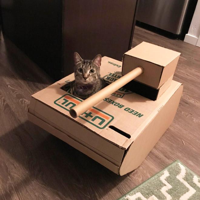 Cardboard tank.