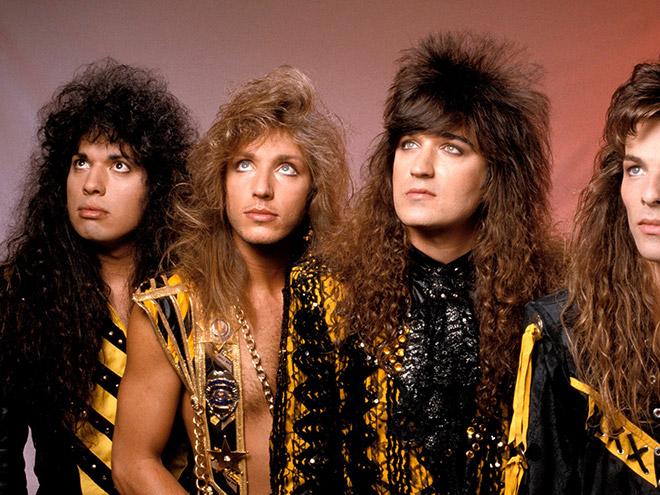 Weird metal band group photo.