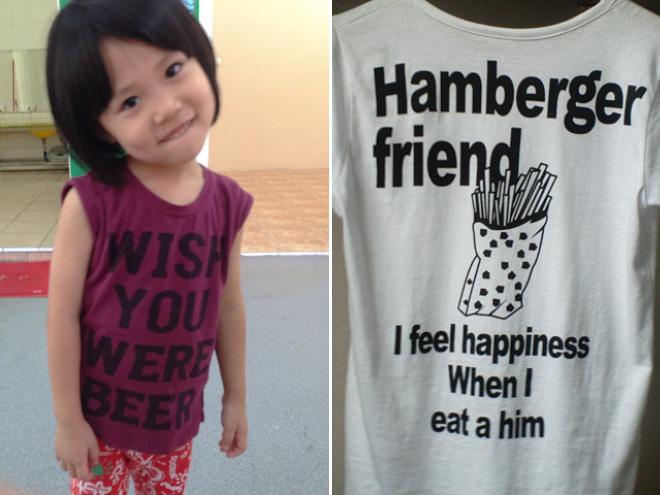 I feel happiness when I et hamburger friend.