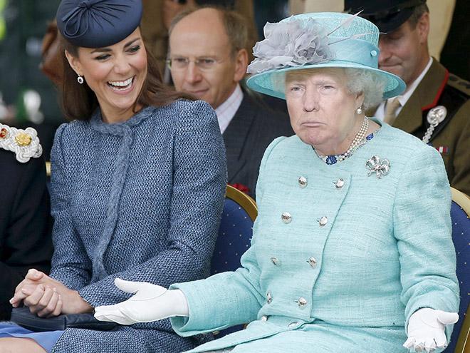 Donald Trump photoshopped as Queen of England.