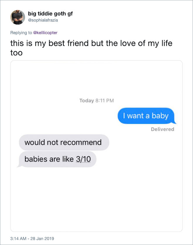 "Clever answer to ""I want a baby"" text from girlfriend."