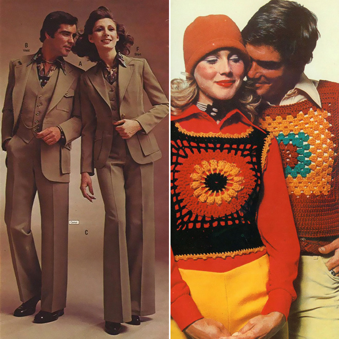 Weird matching outfits from 1970s fashion magazine ads.