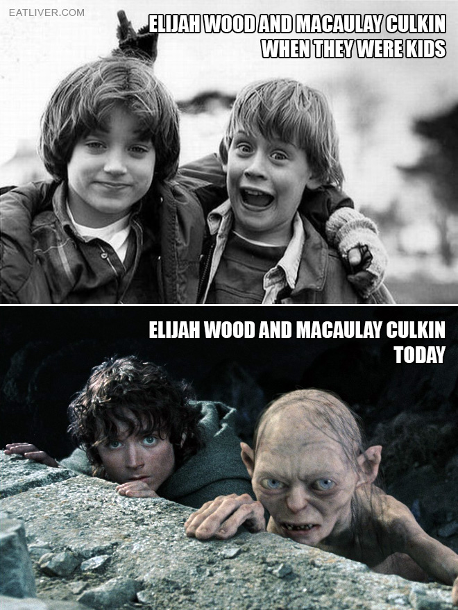 Elijah Wood and Macaulay Culkin: then vs. now.