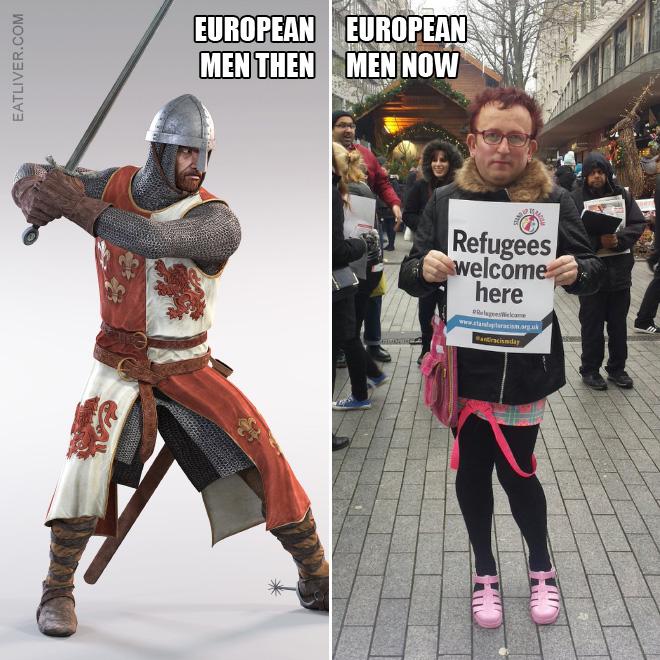 European men: then vs. now.