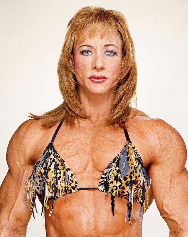 Freaky female bodybuilder.