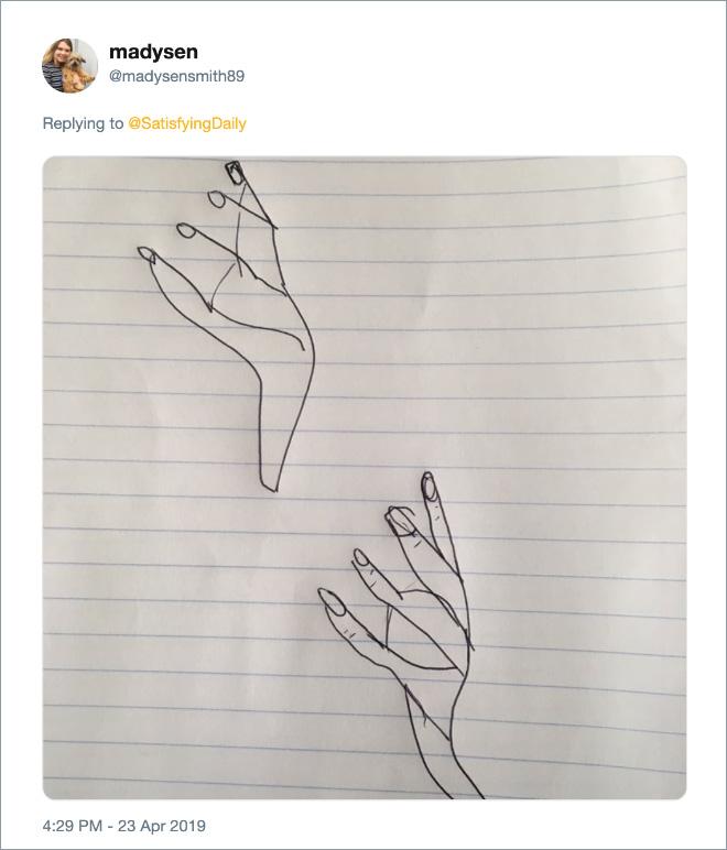 Failed attempt at drawing a human hand.