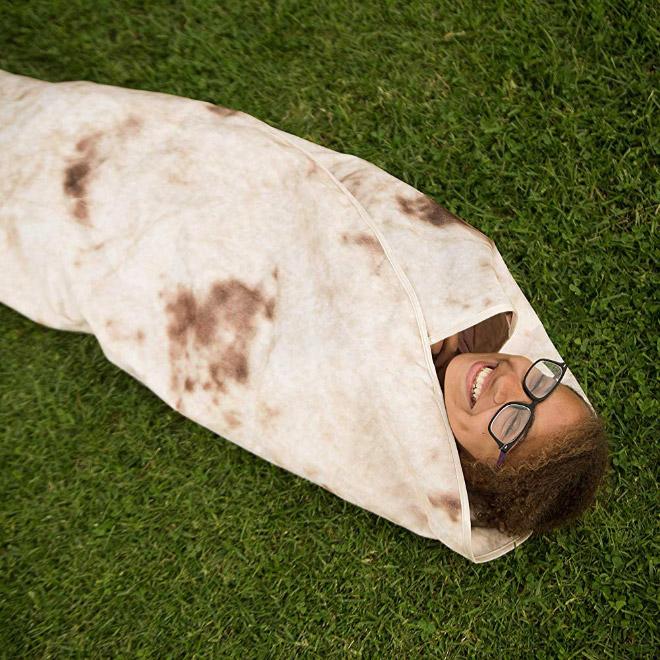 Funny blanket that looks like a burrito.