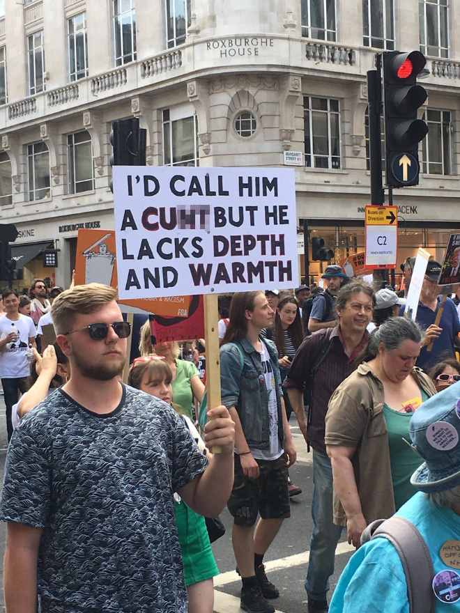 Hilarious anti-Trump sign.