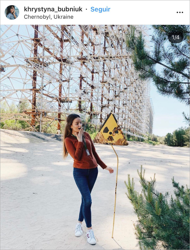 Instagram influencer in Chernobyl.
