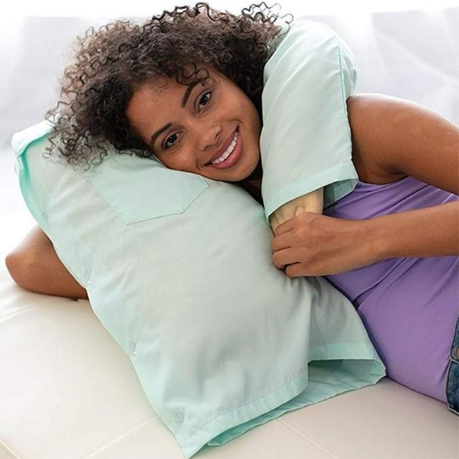 "Lonely woman with a ""boyfriend pillow""."