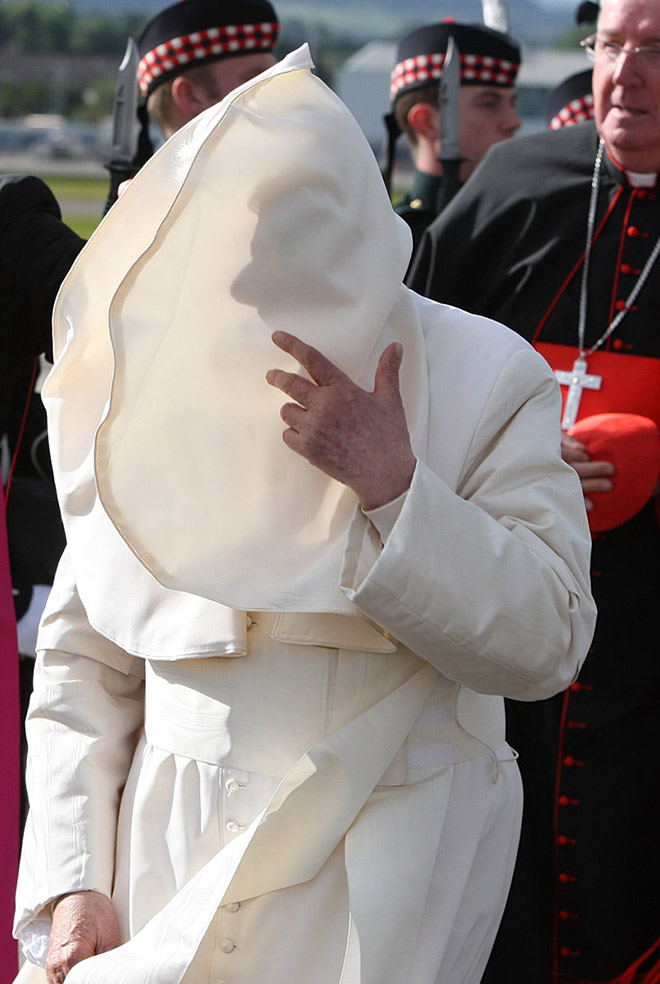 Pope vs. wind.