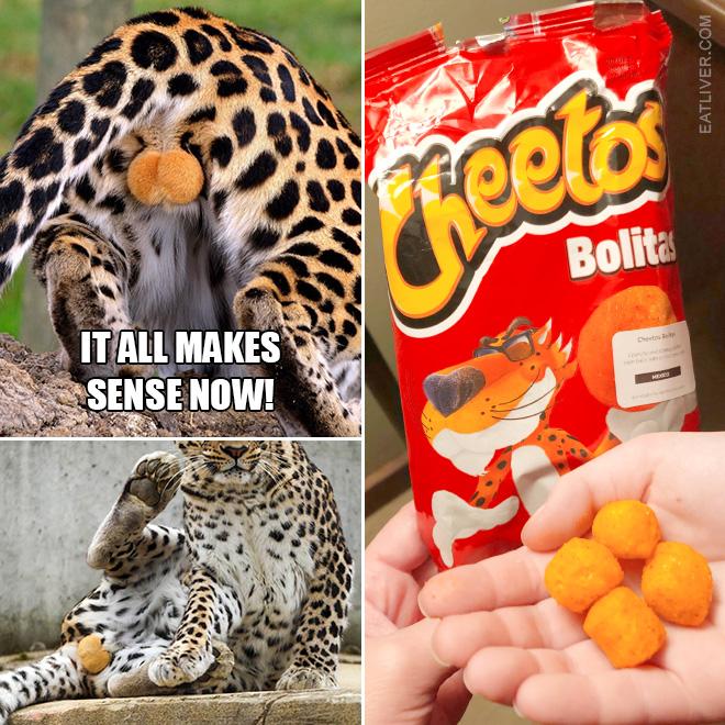 Cheetah balls and Cheetos balls. Wake up, America!
