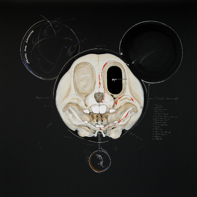 Mickey Mouse skull drawing.