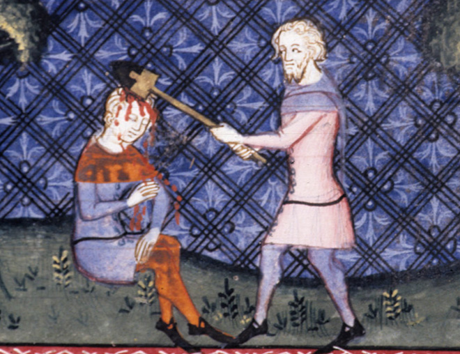 Medieval artwork of people getting killed, but they don't mind it at all.